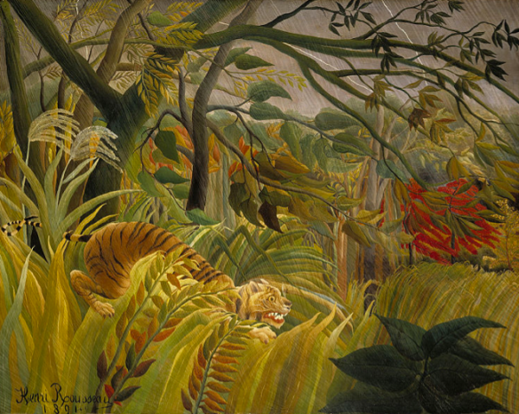 Tiger in a tropical rainstorm (surprised!) - Henri Rouseeau
