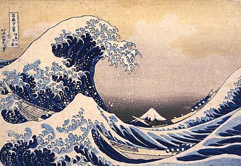 View through waves off the coast of Kanagawa - Katsushika Hokusai